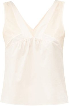 Panelled Cotton-poplin And Jersey Cami - Womens - Nude