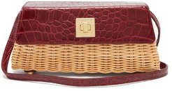 The Clutch Wicker And Leather Cross-body Bag - Womens - Burgundy