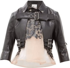 Organza-panel Cropped Faux-leather Jacket - Womens - Black Multi