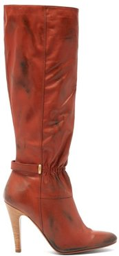 Ruched-front Distressed-leather Boots - Womens - Dark Red