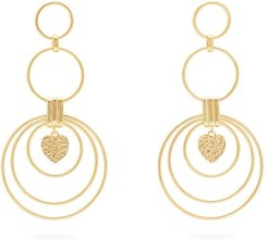 Hearts Large Gold-plated Drop Earrings - Womens - Gold