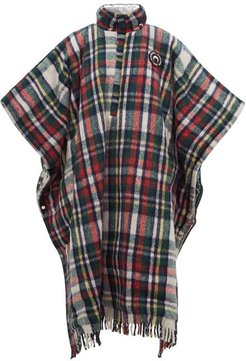 Reversible Hooded Plaid And Lamé Poncho - Womens - Red Multi