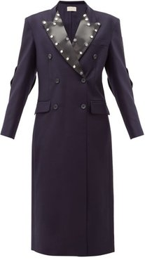 Latex-panel Double-breasted Wool Coat - Womens - Navy
