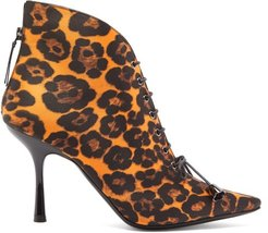 Mae Leopard-print Lace-up Satin Ankle Boots - Womens - Leopard