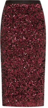 High-rise Sequinned Pencil Skirt - Womens - Burgundy