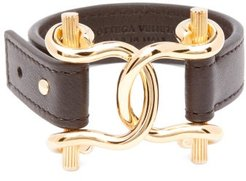 Horsebit Leather Bracelet - Womens - Black