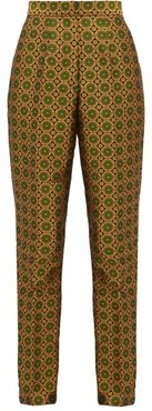 Maxima High-rise Jacquard Trousers - Womens - Green Multi
