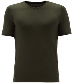 Soft Touch Lyocell-blend V-neck T-shirt - Mens - Khaki
