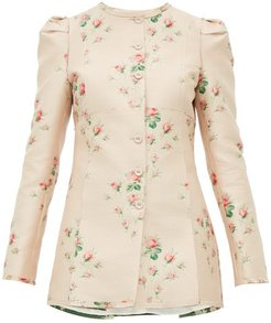 Floral-jacquard Single-breasted Satin Jacket - Womens - Pink Multi