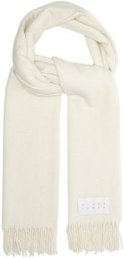 Fringed Brushed-wool Scarf - Womens - Cream