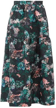 Gia Forest Floral-jacquard Drop-waist Skirt - Womens - Green Multi