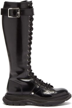 Tread Exaggerated-sole Leather Knee-high Boots - Womens - Black