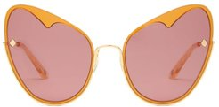Naked Heart Cat-eye Gold-plated Sunglasses - Womens - Gold