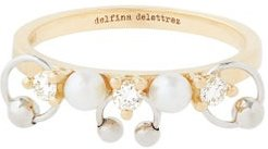 Two In One Diamond, Pearl & 18kt Gold Ring - Womens - Pearl