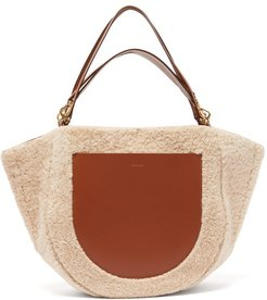 Mia Large Shearling Tote Bag - Womens - Beige Multi