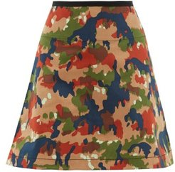 Camouflage-print Cotton Mini Skirt - Womens - Multi