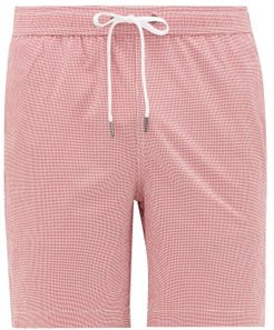 Charles 7 Gingham Swim Shorts - Mens - Red