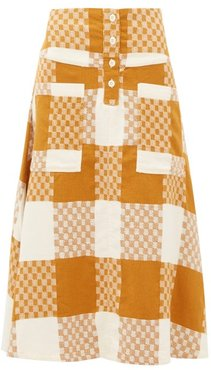 Maisie Checked Cotton A-line Skirt - Womens - Beige Multi