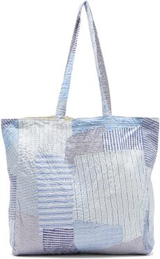 Patchwork Cotton-poplin Tote Bag - Womens - Blue
