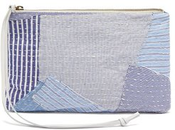 Patchwork Cotton-poplin Clutch - Womens - Blue