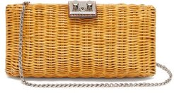 Leather-trimmed Wicker Clutch Bag - Womens - Brown