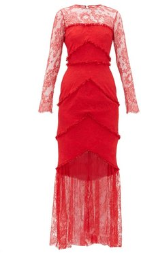 Lace-panel Sheer Hem Gown - Womens - Red