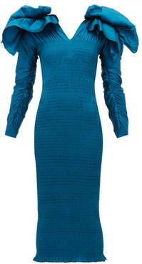 Bow-embellished V-neck Smocked Midi Dress - Womens - Mid Blue