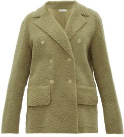 Frou Frou Double-breasted Shearling Coat - Womens - Light Green