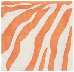 Set Of Four Zebra-print Linen Napkins - Orange