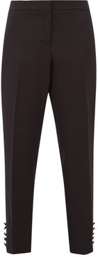 Hanover Buttoned-cuff Wool-crepe Tuxedo Trousers - Womens - Black White