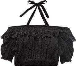 Amelie Cropped Broderie Anglaise Top - Womens - Black