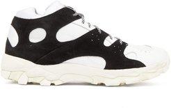Cage Leather And Suede Trainers - Mens - White Black