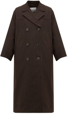 Pow Double-breasted Check Twill Coat - Womens - Dark Brown