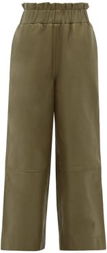Leather Wide-leg Trousers - Womens - Khaki