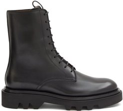 Lace-up Leather Military Boots - Mens - Black