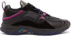 Panelled Leather And Suede Vibram Trainers - Mens - Black Multi