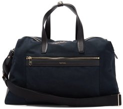 Leather-trimmed Canvas Holdall - Mens - Navy