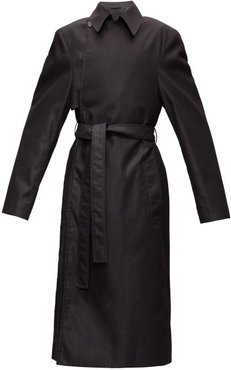 Exaggerated-shoulder Cotton-twill Trench Coat - Mens - Black