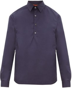 Pavan Cotton-poplin Polo Shirt - Mens - Navy