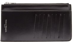 Four-stitch Zipped Leather Cardholder - Mens - Black