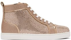 Louis Crystal-embellished High-top Suede Trainers - Womens - Gold