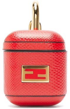 Ff-logo Snakeskin Airpods Case - Womens - Red