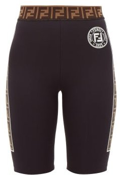 Ff Logo-stripe Cycling Shorts - Womens - Black