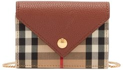 Jade Vintage-check Chain-strap Leather Wallet - Womens - Brown Multi