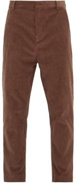 Tapered-leg Cotton-blend Corduroy Trousers - Mens - Brown