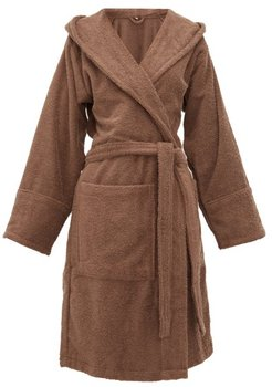 Hooded Cotton-terry Bathrobe - Womens - Brown