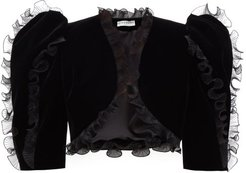 Plissé Ruffled Velvet Bolero Jacket - Womens - Black