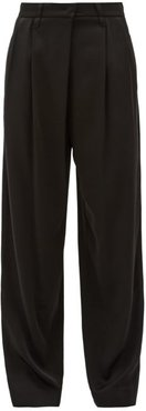 Pleated High-rise Crepe Wide-leg Trousers - Womens - Black