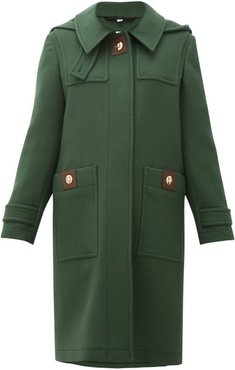 Bulford Hooded Wool-twill Duffle Coat - Womens - Dark Green