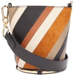 Zelie Striped Leather Bucket Bag - Womens - Brown Multi